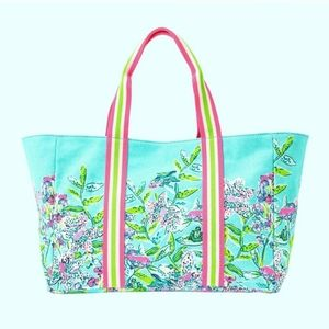 NWT Lilly Pulitzer Lilly's Lagoon Canvas Tote Bag
